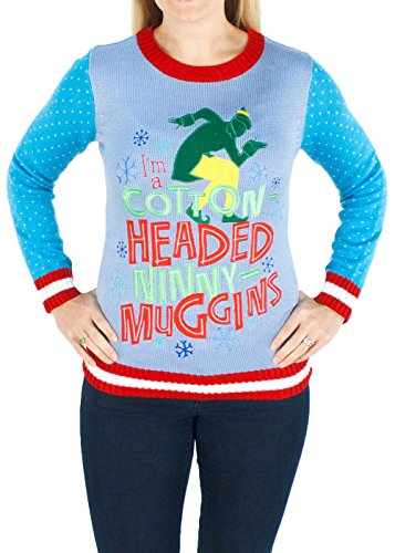 Women's Elf the Movie Cotton Headed Ninny Muggins Sweater (Blue) - Ugly Holiday Sweater (Large)
