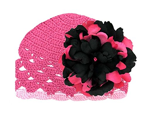 (Jamie Rae Hats Raspberry Scalloped Crochet Hat with Black Raspberry Large Peony, Size: 6-12m)