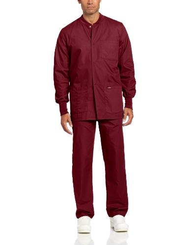 (Landau Men's Premium 4-Pocket Classic Fit Warm-Up Medical Scrub Jacket, Wine, X-Large)