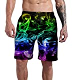 Goodstoworld Fog Smoke Blue Running Swim Trunk Men's Sports Beach Shorts Printed Basketball Short Summer Hawaiian 3D Board Surfing Shorts with Pockets XL