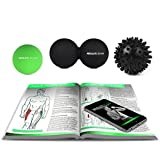 Massage Lacrosse Ball Set by ABSOLUTE REHAB, Peanut Ball + 1, Lacrosse Ball + 1, Spiky Ball for Myofascial Release and Trigger Point Therapy, w/ Free Trigger 70 Page Trigger Point Guide eBook ($24.99 Value) and Free Nylon Carrying Bag