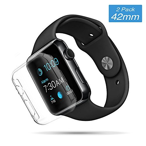 Elechok for Apple Watch Case 42mm, iWatch 0.26mm Screen Protector Tpu Full-body Protective Clear HD Clear Ultra-thin Cover for Apple Watch Series 2 3 (42mm