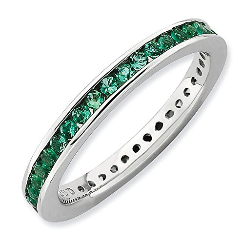 Sterling Silver Stackable Expressions Channel Set Created Emerald Eternity Band - Size 10 by Stackable Expressions