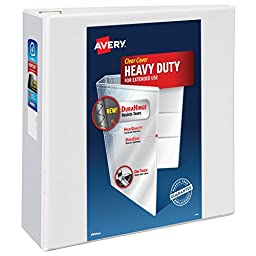Avery Heavy-Duty View Binder with 4 Inch  One Touch EZD Ring, White, 1 Binder (79704)