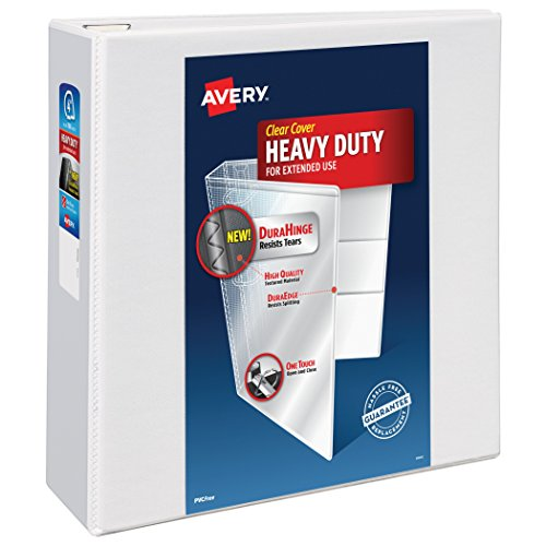 Avery Heavy-Duty View Binder with 4 Inch  One Touch EZD Ring, White, 1 Binder (4 In Binder)
