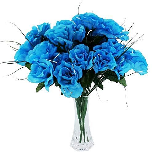 MM TJ Products 4 Artificial Roses Bouquet, 28 Fake Roses Heads with Vase (Turquoise) -