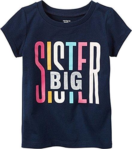 Carter's Girl's Navy S/S Big Sister Glitter Tee (5T)