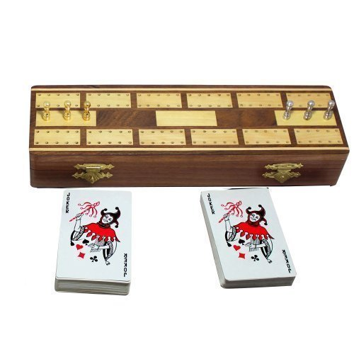 Brass Round Crib - 4th of July Independence Day Sale!! Wooden Cribbage Board Game 2 Playing Cards Deck 6 Metal Cribbage Pegs