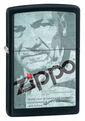 Zippo Black Matte Quote Lighter (Black, 5 1/2x3 1/2-Cm) (Mountain Zippo Rocky)