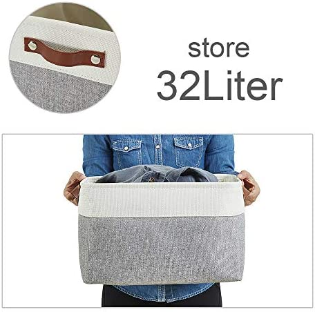 517lsoySENL. AC - DECOMOMO Foldable Storage Bin | Collapsible Sturdy Cationic Fabric Storage Basket Cube W/Handles For Organizing Shelf Nursery Home Closet (Grey And White, Extra Large - 15.8 X 12.5 X 10-3 Pack)