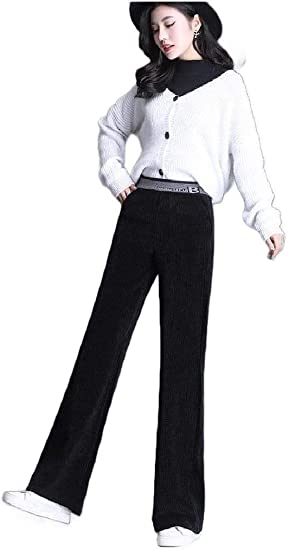 VITryst Women Pockets Corduroy Relaxed Fit High-waisted Solid Color Pants