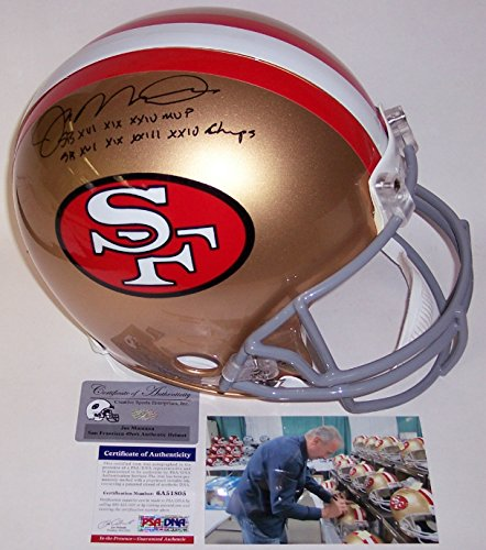 Joe Montana Autographed Hand Signed San Francisco 49ers Throwback Full Size Authentic Football Helmet - with 4x SB Champs & 3x SB MVP Inscription - PSA/DNA