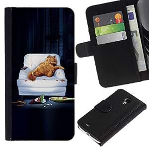 All Phone Most Case / Oferta Especial Cáscara Funda de cuero Monedero Cubierta de proteccion Caso / Wallet Case for Samsung Galaxy S4 Mini i9190 // FUNNY - LAZY GARF CAT