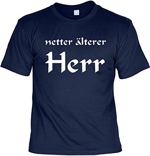 Soreso Design Cooles Geburtstags Tshirt für Herren in der Farbe Navy Blau mit Mini Shirt - Netter älterer Herr - Ideales Geschenk