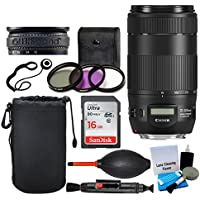 Canon EF 70-300mm f/4-5.6 IS II USM Lens + 67mm 3 Piece Filter Kit + 16GB Memory Card + Soft Lens Pouch + Dust Blower + Lens Band + 5 Piece Cleaning Kit + Cleaning Pen – Deluxe Lens Accessory Bundle