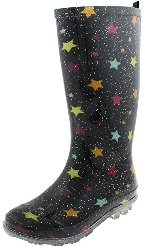 Capelli New York Girls Rain Boots With Shiny Multi Stars Print Black Combo 2