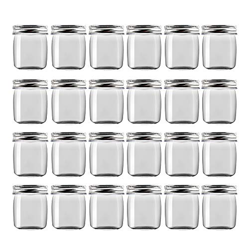 Novelinks 8 Ounce Clear Plastic Jars Containers With Screw On Lids - Refillable Round Empty Plastic Slime Storage Containers for Kitchen & Household Storage - BPA Free (24 Pack) (Small Plastic Containers With Screw On Lids)