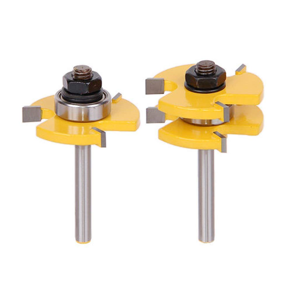Tongue and Groove Router Bit Set, 2 Pcs Router Bit Set, 1/4 Inch Shank 3 Teeth T Shape Wood Milling Cutter Woodworking Tool for Router Table Base Router, Kitchen/Cabinets/ Bathroom