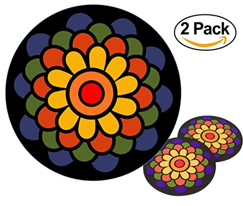 (Planet Ethnic Soft PVC Round Flower Designer Trivet Set (2 trivets). 7 inch diameter and 0.2 inch thick.)