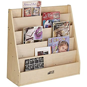 ECR4Kids Birch Streamline Book Display Stand Wood Shelf Organizer For Kids 5 Shelves Natural