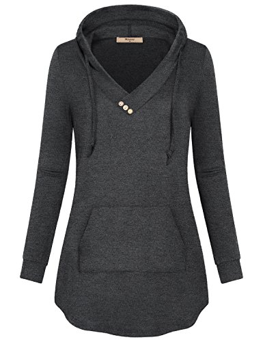 Miusey Casual Sweatshirt for Women, Ladies Tunic with Kangaroo Pocket Hoodie New Chic Beautiful Shirt Minimalist Clothing Pop Fashion Blouson Blouse Top Long Sleeve T Shirts Charcoal Black XL