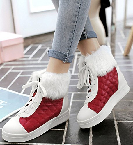 Womens Round IDIFU Wedge Short Toe Casual Up Mid Booties Heels Ankle Inside Red High Lace BqYdqw