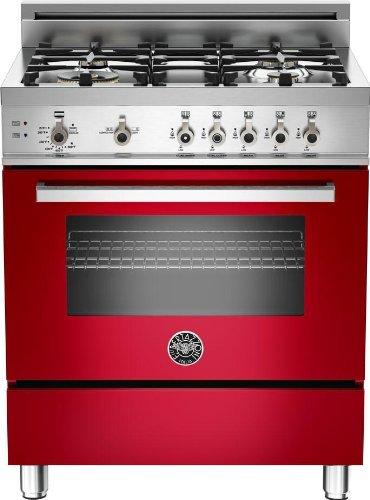 PRO304GASROLP   Bertazzoni Professional 30 Gas Range, 4 Burners, Liquid Propane - Rosso Red (Bertazzoni Freestanding Ranges)