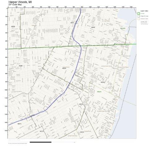 ZIP Code Wall Map of Harper Woods, MI ZIP Code Map - Woods Harper Mi Of Map