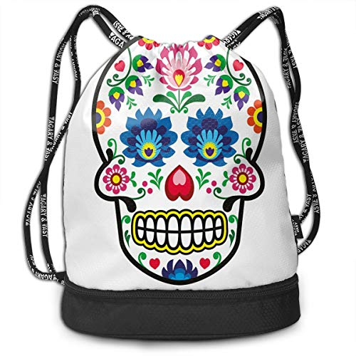 Bags,Polish Folkloric Art Style Mexican Sugar Skull Design Ethnic Carnival Theme,Adjustable ()