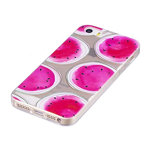 iPhone 5 5S SE Hülle , Leiai Modisch Wassermelone TPU Transparent Weich Tasche Schutzhülle Silikon Handyhülle Stoßdämpfende Schale Fall Case Shell für Apple iPhone 5 5S SE