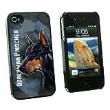graphics and more Doberman Pinscher negro sobre azul–perro mascota–Snap On carcasa rígida para Apple Iphone 44S–negro–Funda de transporte–empaquetado, color negro