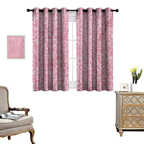 - Pink and White Blackout Window Curtain Gingham Style Mosaic Tile in Pink Color Shades Modern Grid with Small Squares Customized Curtains W55 x L39 Pale Pink