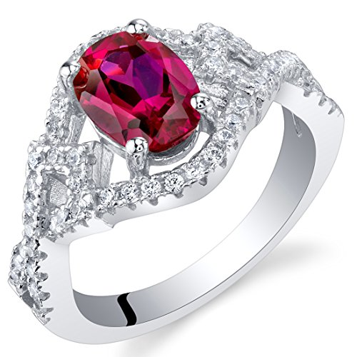- Created Ruby Sterling Silver Lace Ring Size 7