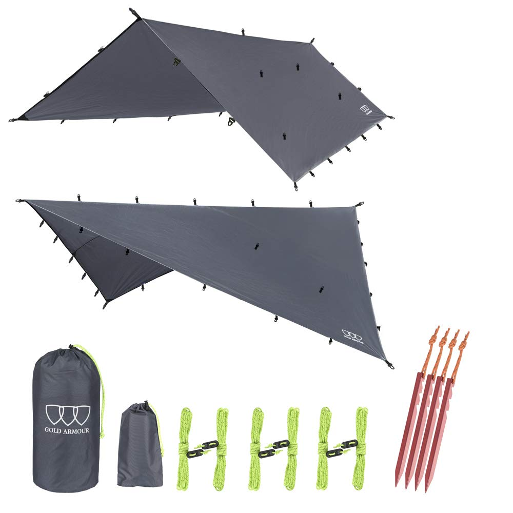 Gold Armour 12ft Extra Large Tarp Hammock Waterproof Rain Fly Tarp 185in Centerline - Lightweight Ripstop Fabric - Stakes Included - Survival Gear Backpacking Camping Accessories (Gray) by Gold Armour