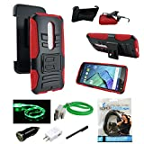 Moto X Pure Edition Case - MStechcorp Full Body Rugged Holster Smartphone Cover with Kickstand & Swivel Belt Clip for Motorola Moto X Style / Pure Edition 2015 - Includes Accessories (H Red)