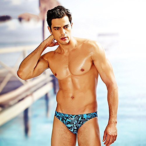 ZQ@QXMen's fashion taille basse pantalon sport natation stamp,bleu,XXL