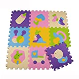 Menu Life P013 Soft Foam Play Mat Interlocking EVA Soft Jigsaw Puzzle Foam Baby Child Play Area Yoga Exercise Mats (30 x 30 x 1cm, 9pcs Play Mats Without Fences)