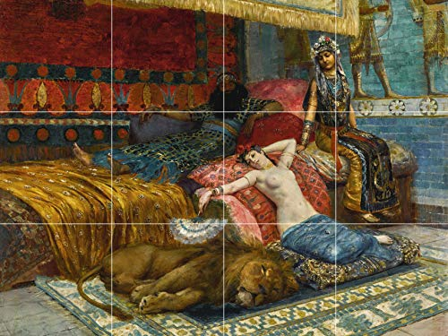 Female Model Reclining Nude in The Harem with a Lion Oriental Rug Orientalist Painting Ceramic Tile Mural Kitchen Bathroom backsplash 24