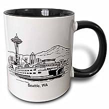 3dRose 3dRose Seattle, WA Ferry and Space Needle - Two Tone Black Mug, 11oz (mug_14268_4), , Black/White