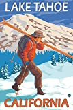 Skier Carrying Snow Skis - Lake Tahoe, California (24x36 Giclee Gallery Print, Wall Decor Travel Poster)