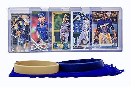 Milwaukee Brewers Baseball Cards: Lorenzo Cain, Christian Yelich, Mike Moustakas, Yasmani Grandal, Brandon Woodruff ASSORTED Trading Card and Wristbands Bundle