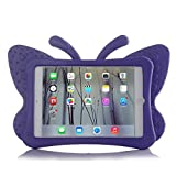 HCHA iPad 2 Case Kids iPad 3 Case iPad 4 Kid Proof Case Shockproof Light Weight EVA Foam Protective Cover For Kids carrying Handle Friendly Case for Apple iPad 2 / 3 / 4 9.7 Inch (Butterfly Purple)