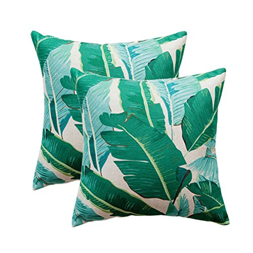 (ULOVE LOVE YOURSELF Pack of 2 Banana Leaves Pillow Covers Cotton Linen Tropical Palm Leaves Cushion Covers Square Decorative Pillowcases 18×18 Inch for Sofa,Couch,Bed,Patio(Green Leaves-2))