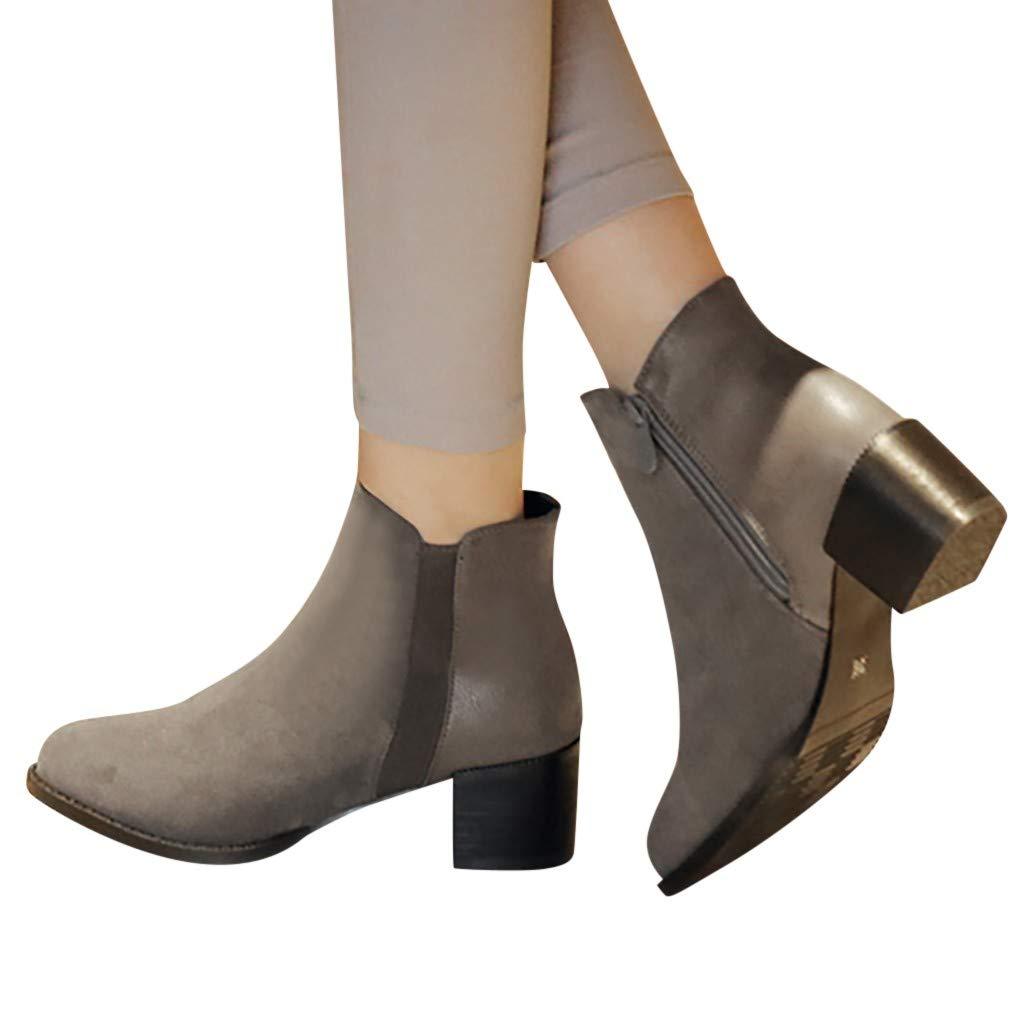 Women's Wide Width Ankle Boots Fashion Slip on Side Zipper Bootie Mid Chunky Block Heels Pump Dress Shoes (US:7(39), Gray)