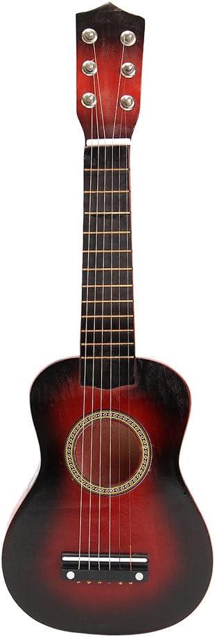 TOYMYTOY 21 pulgadas Guitarra acustica Pequeña guitarra de madera para niños infantil principiantes (Rojo)