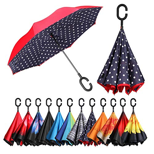 BAGAIL Double Layer Inverted Umbrellas Reverse Folding Umbrella Windproof UV Protection Big Straight Umbrella for Car Rain Outdoor with C-Shaped Handle (Red Blue Dot)