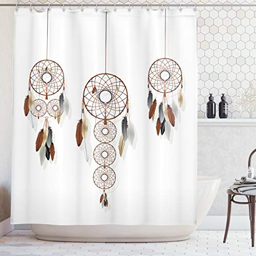 Ambesonne Native American Decor Collection, Dreamcatcher Composition Psychedelic Ethnic Design, Polyester Fabric Bathroom Shower Curtain Set with Hooks, Brown - Collection Dreamcatcher