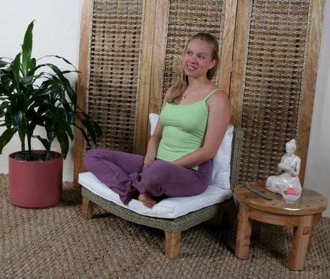 Seagrass Meditation Yoga Chair - Expresso With Cream Cushion