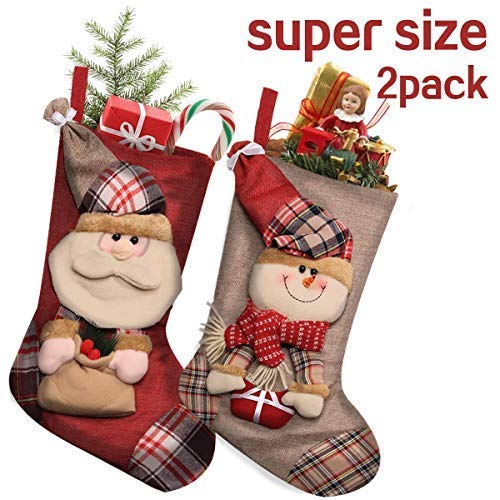 Needlepoint Christmas Stocking Mini (BenRan Christmas Stockings 2 Pack 18'' Xmas Character 3D Plush Faux Cuff Christmas Decorations Party Accessory)