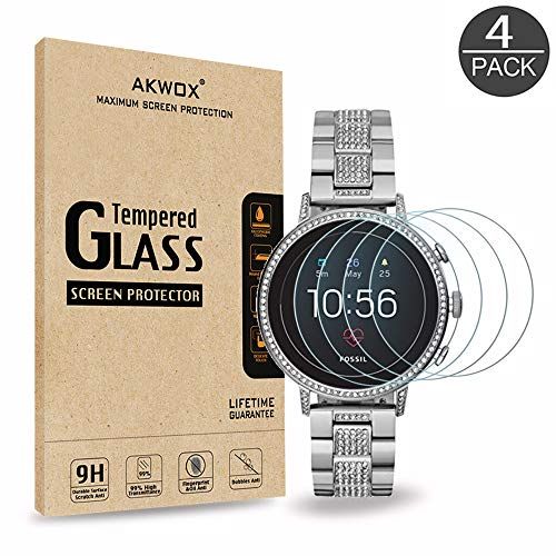 [4 Pack] Tempered Glass Screen Protector for Fossil Womens Gen 4 Q Venture HR, AKWOX [0.3mm 2.5D High Definition] Anti-Scratch Screen Protector for Fossil Womens Gen 4 Q Venture HR
